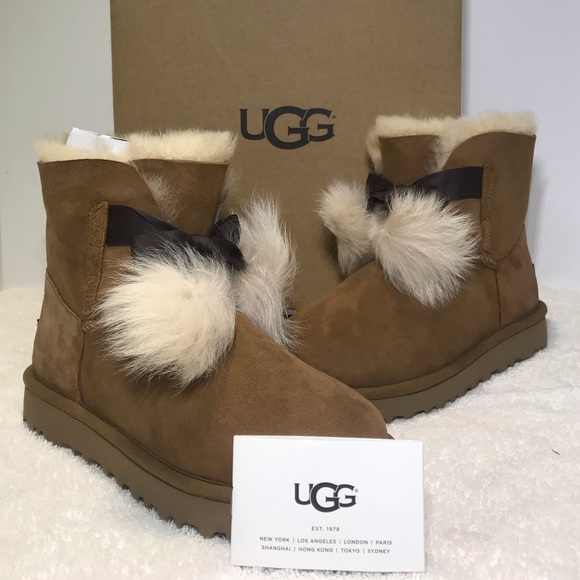 fc61c7a9167 UGG Gita PomPom Boots Style 1018517 Color Chestnut NWT